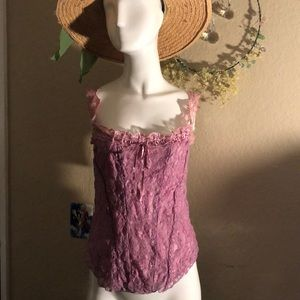 Dusty rose lace summer top.